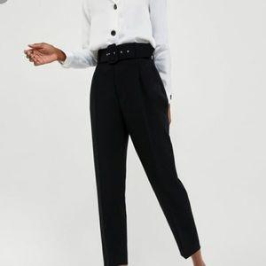 ZARA Black Belted Trouser Pants
